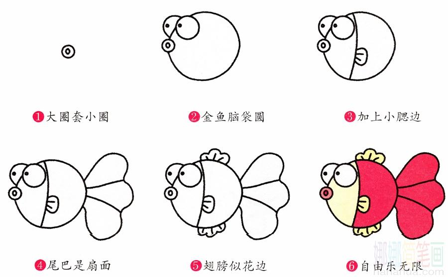 小金鱼的画法 儿童简笔画大全