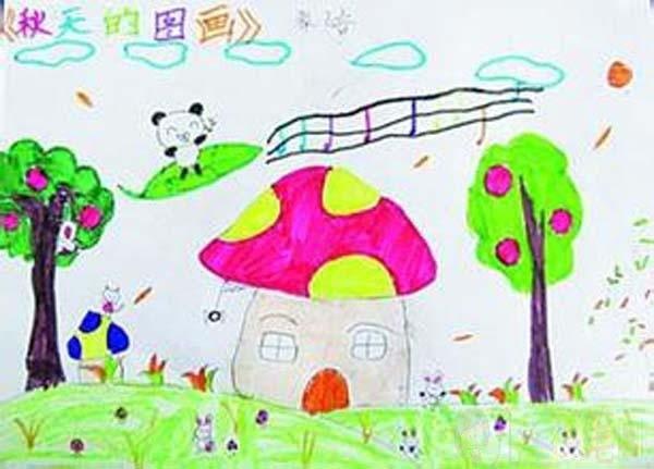 幼儿园秋天的图画儿童画作品图片大全