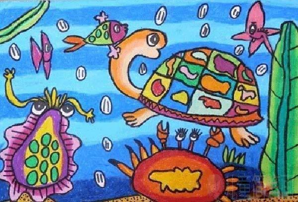 小学三年级海底世界大乌龟儿童画作品 儿童简笔画大全