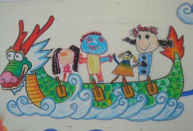 端午节我们一起划龙舟,儿童画作品分享 儿童简笔画大全