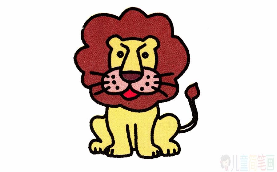 森林之王狮子的简笔画画法图片步骤
