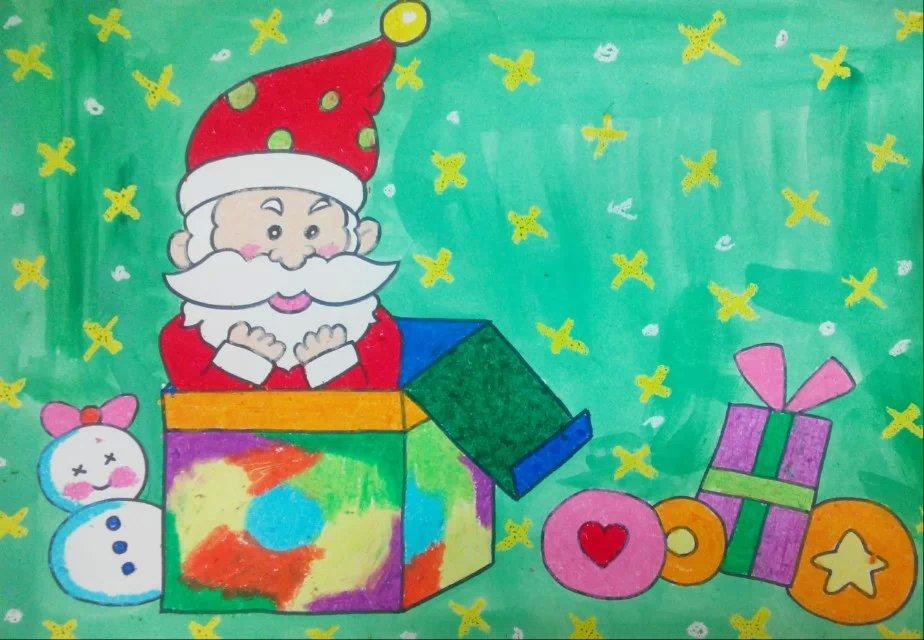 圣诞节圣诞老人儿童画作品