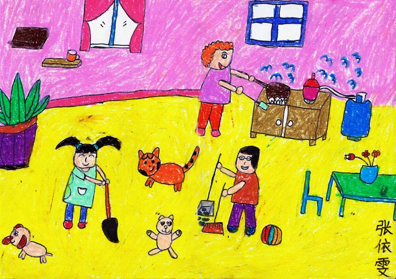 少儿手工作品_我爱我家儿童画作品合集/儿童简笔画