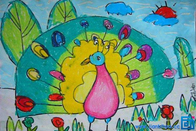 儿童画孔雀简单漂亮儿童水彩画