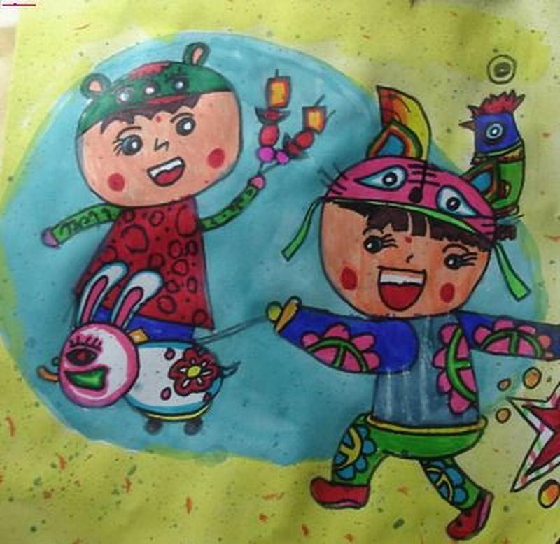 春节中班小朋友儿童画作品/儿童简笔画大全