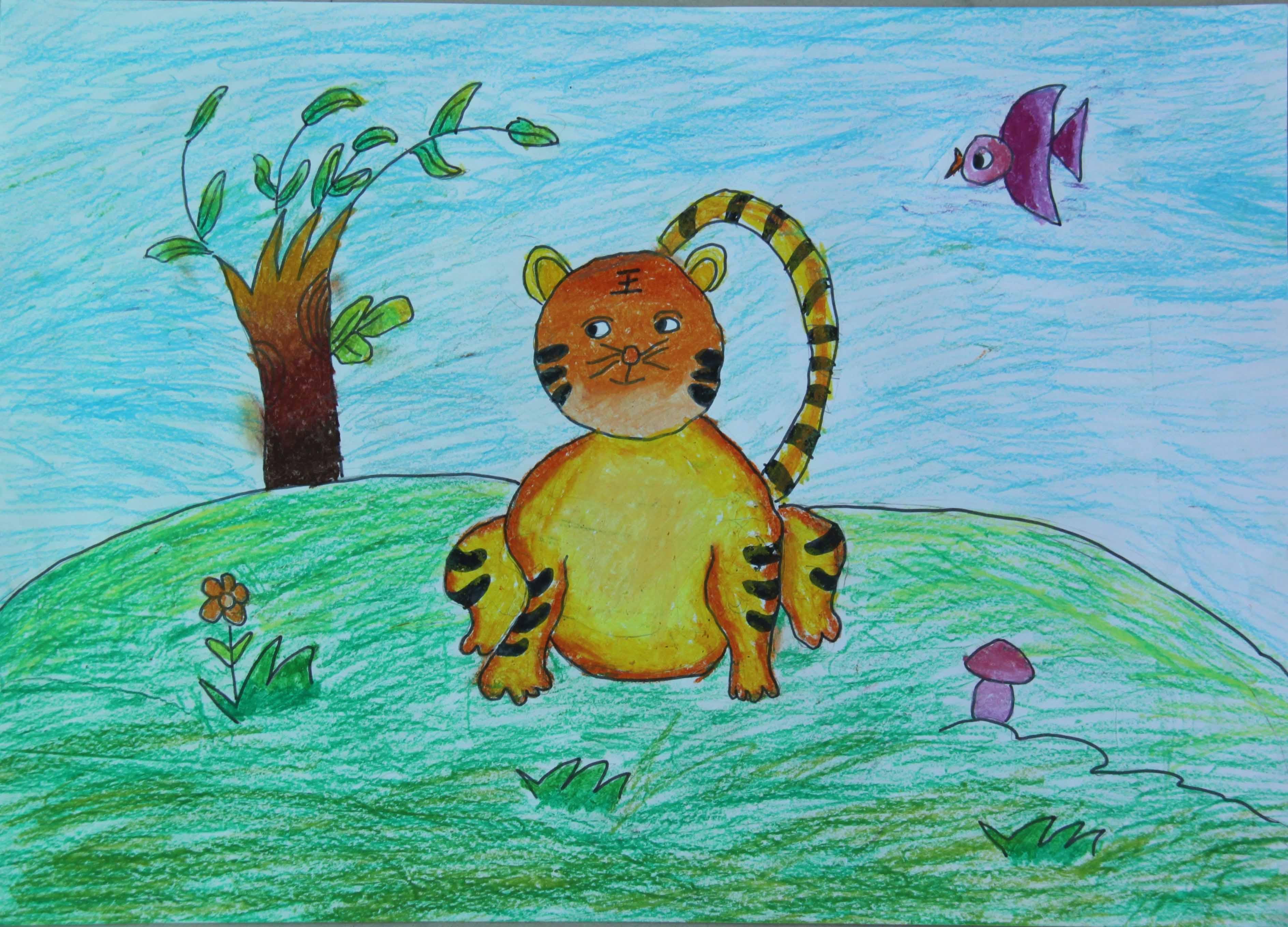 动物园儿童画-孤独的老虎作为森林王国的统治者,老虎几乎没有什么知心的朋友,现在它终于承认,原来自己也有软弱的一面。它多么渴望可以像其他动物一样,享受与朋友相处的快乐,能在犯错误时得到动物们的提醒和忠告。小朋友们,你们是像老虎这样的,还是怎样的呢?