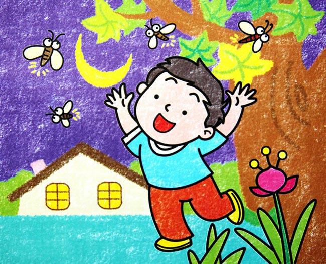 小孩 欢乐 儿童 卡通画 卡通 女孩 男孩 设计儿童蜡笔画:小孩戏蜻蜓