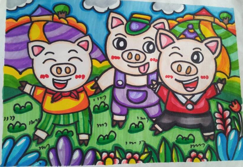 新年儿童画作品,2019猪年最新儿童绘画
