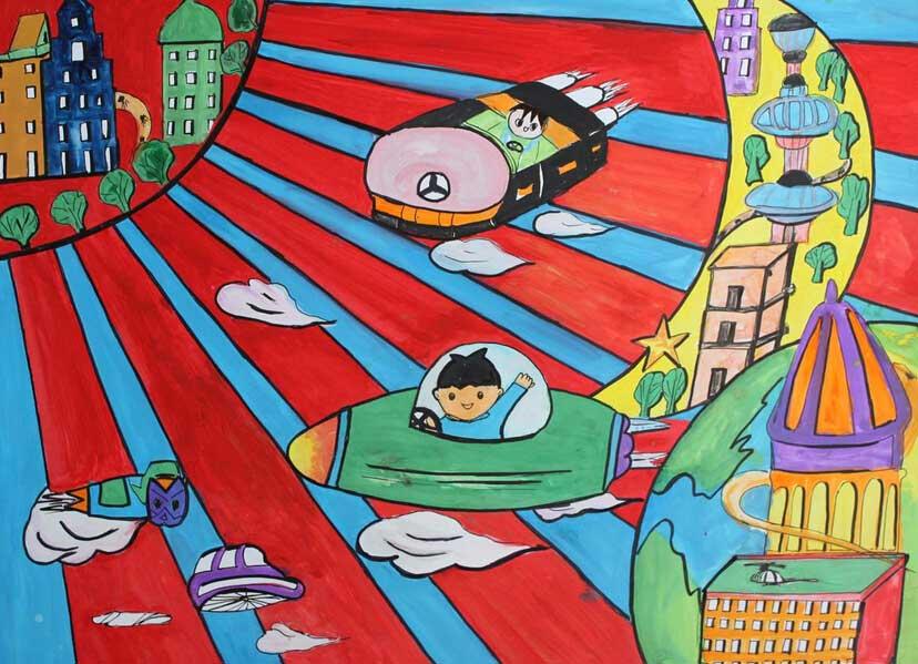 关于未来世界的儿童画作品图