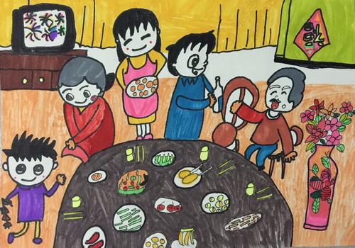 儿童简笔画大全 和爷爷奶奶一起过新年吃团圆饭,隋晓涵 作者年龄 9岁