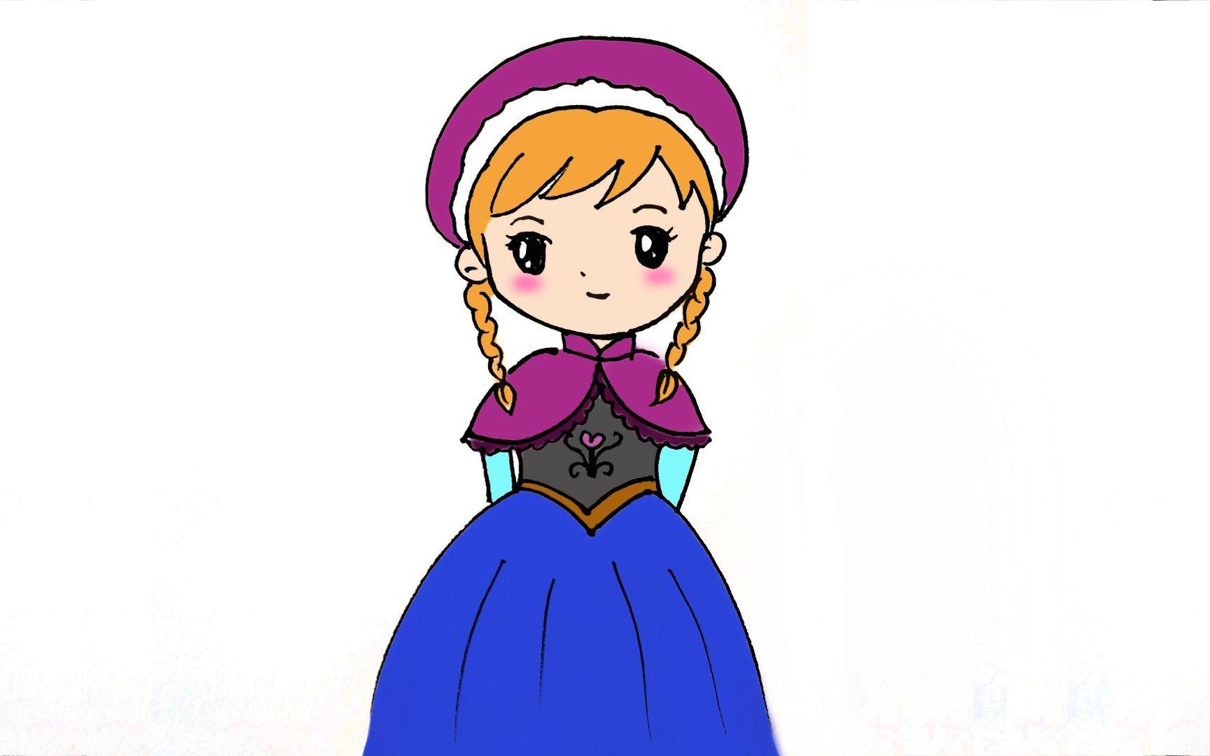 儿童卡通简笔画温柔的安娜小公主
