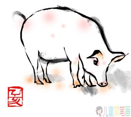 2019关于猪年年画的简笔画图片