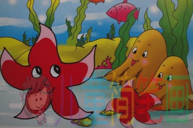 简笔画美丽的海底世界彩色画作品图片