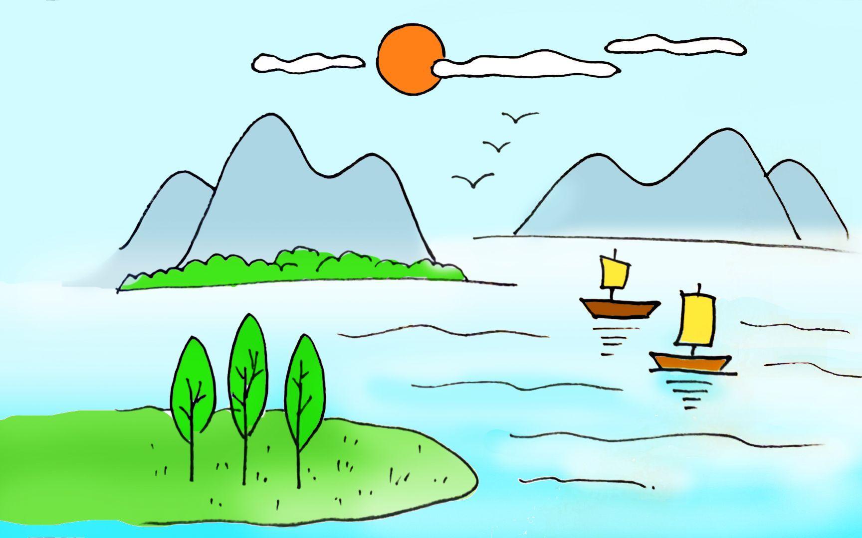 漂亮的山水風景畫,簡單好畫的親子卡通簡筆畫