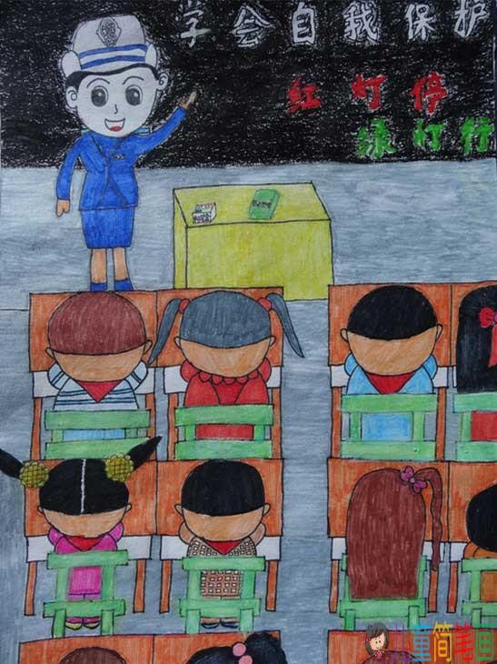 安全出行,交通安全儿童画作品宣传画图片