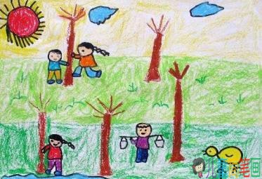关于植树节儿童画图片大全 快乐的植树节的画简单又漂亮