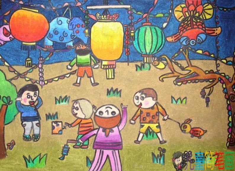 正月十五元宵节儿童画图片