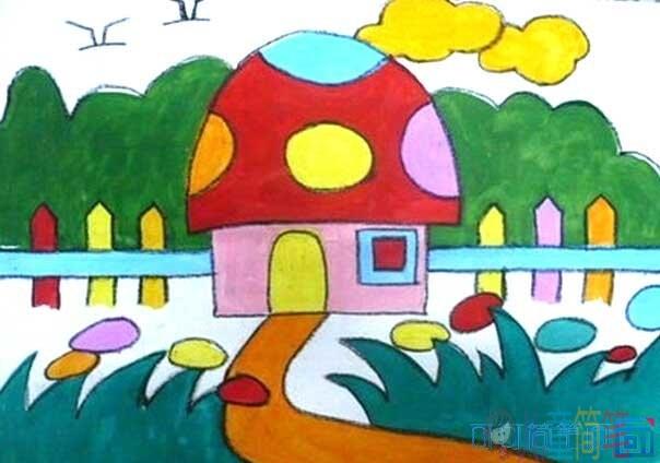 兒童畫房子的圖片