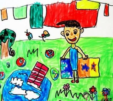 帮妈妈做家务的儿童画图片