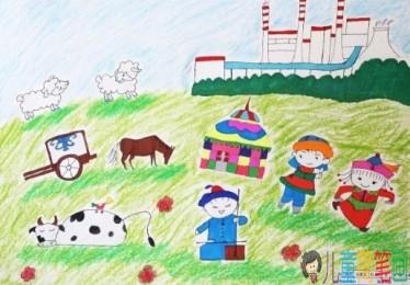美丽的草原风景儿童画怎么画