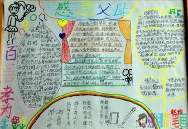 孝心满园,感恩父母,孝顺父母的手抄报大全/儿童简笔画