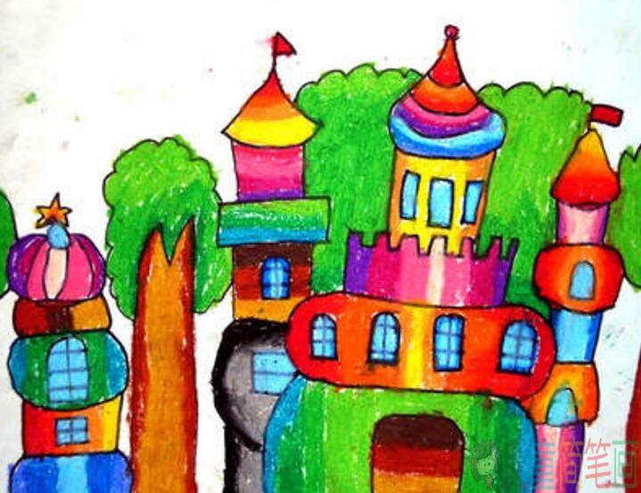 爬山虎手画_彩色城堡儿童画图片/儿童简笔画