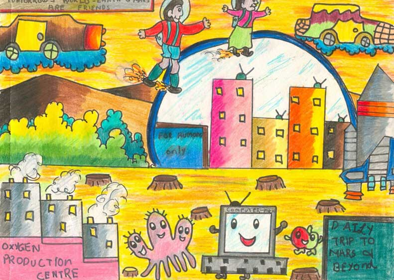 畅想未来的世界儿童画作品 儿童简笔画大全