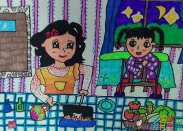 幼儿绘画我的好妈妈_帮妈妈做家务的儿童画图片/儿童简笔画