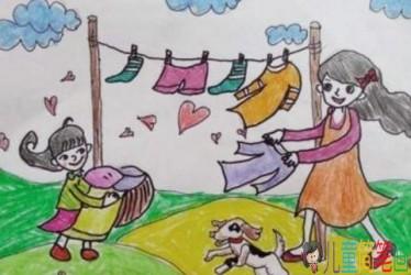 好看又简单的简笔画_帮妈妈做家务的儿童画图片/儿童简笔画