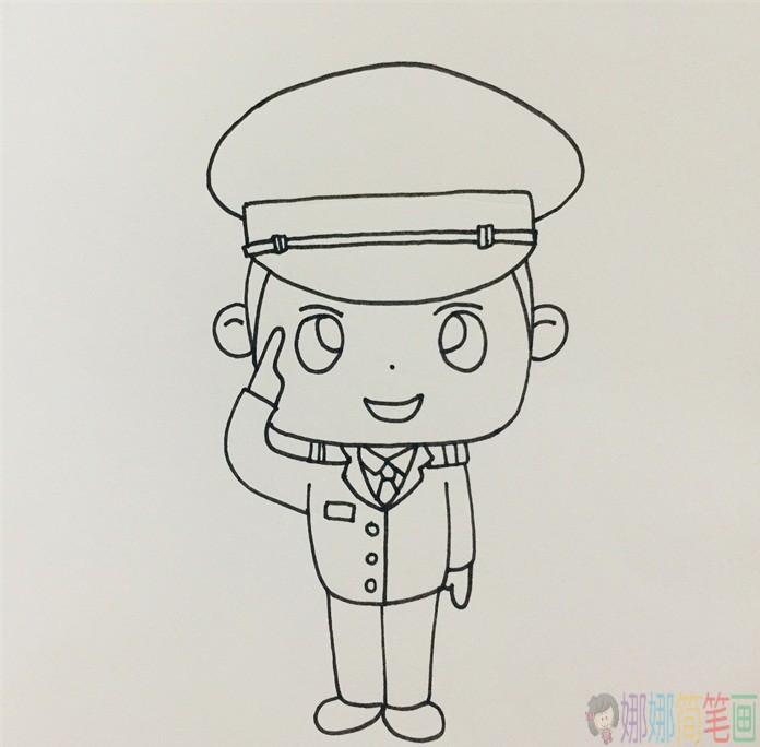 敬礼的警察叔叔简笔画