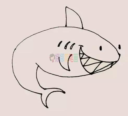 儿童鲨鱼简笔画带颜色