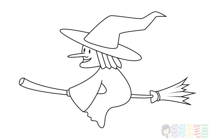 骑扫把的女巫怎么画