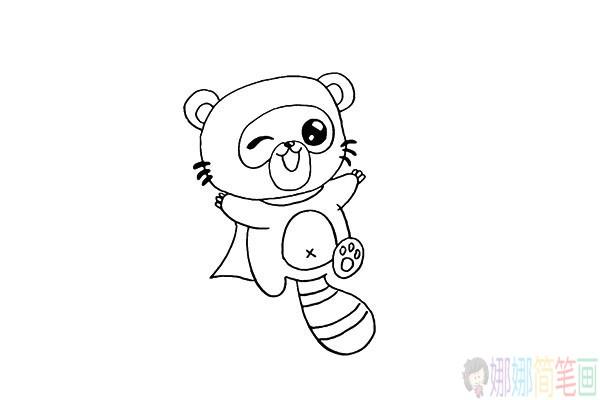 浣熊怎么画,可爱的浣熊简笔画彩色