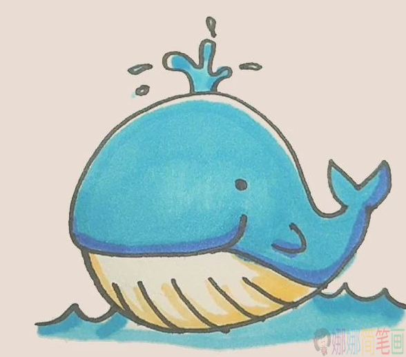 简笔画一只可爱鲸鱼的简单画法