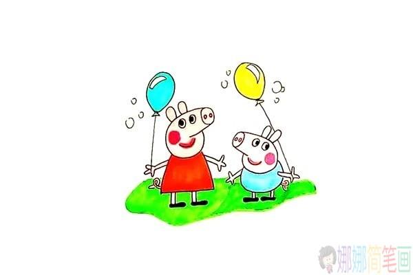 小猪佩奇和她的弟弟简笔画教程