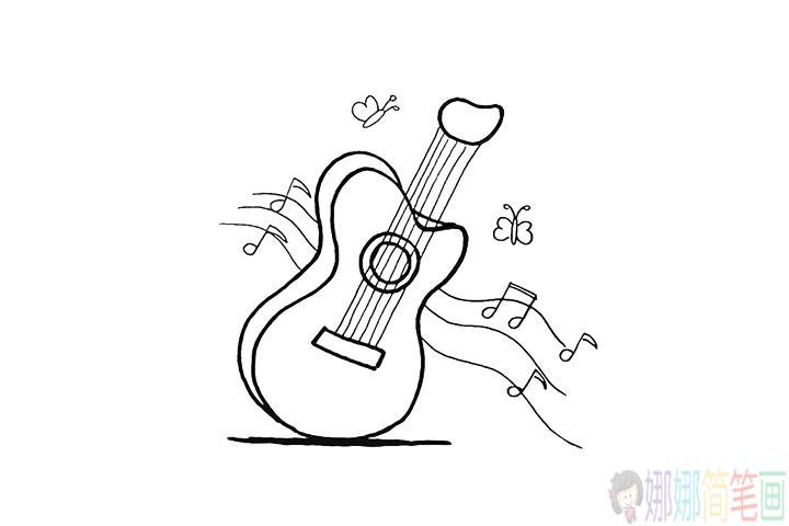 吉他怎么画,小朋友吉他画法