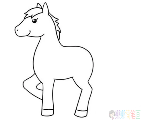 简单几步画出小马,简笔画小马