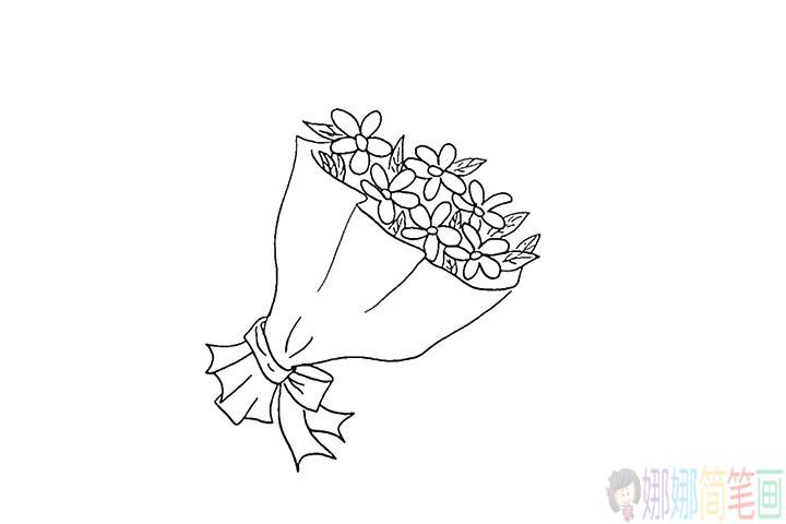 一束漂亮的花简笔画法教程