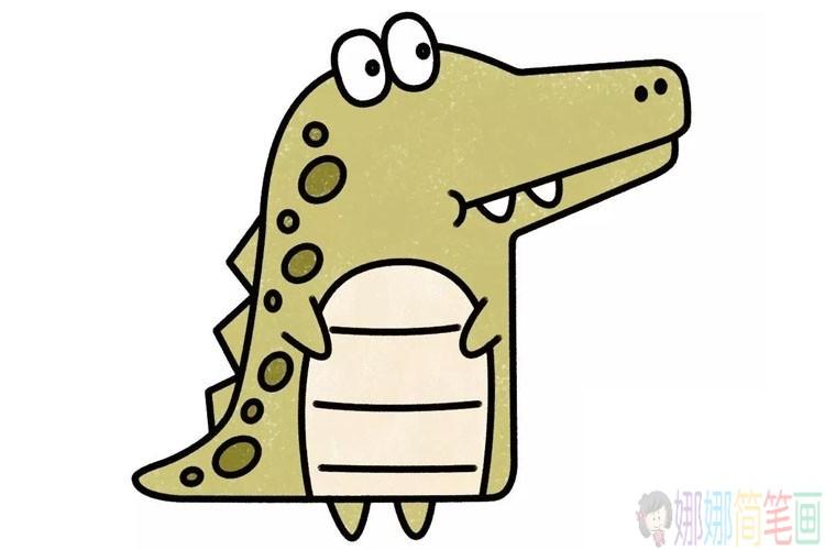 卡通鳄鱼简笔画教程