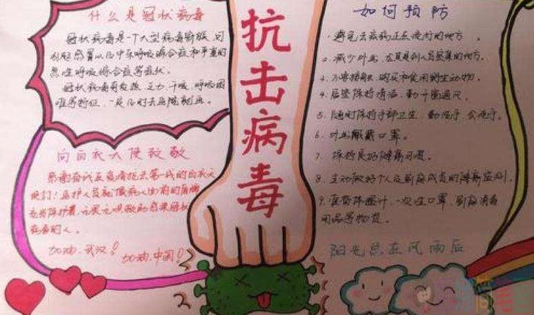 抗击肺炎武汉加油手抄报图片