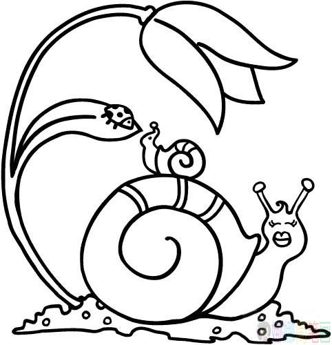 蜗牛简笔画图片
