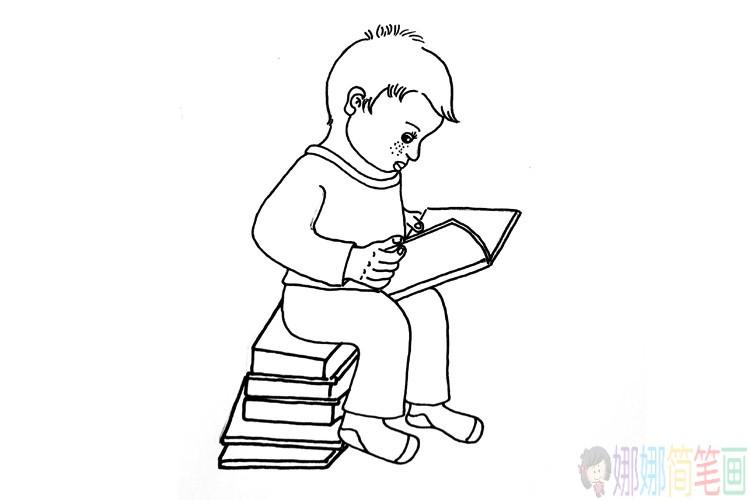 一组简单的小男孩简笔画图片