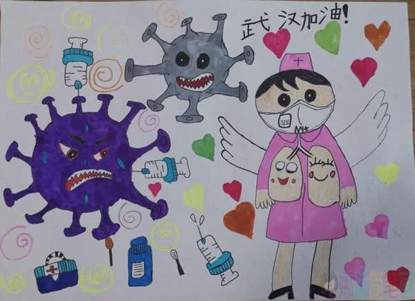 最简单的抗战儿童画_众志成城抗击病毒儿童画/儿童简笔画