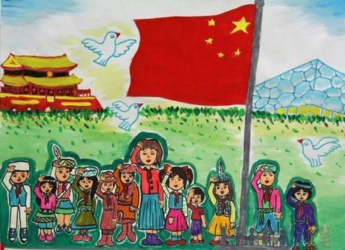 """儿童人物画_儿童画""""我爱祖国"""",我爱祖国儿童画优秀作品大全/儿童简笔画"""