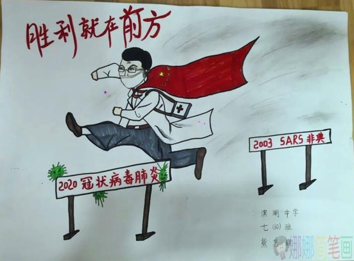 低碳环保主题儿童画_抗击疫情儿童画绘画作品赏析/儿童简笔画