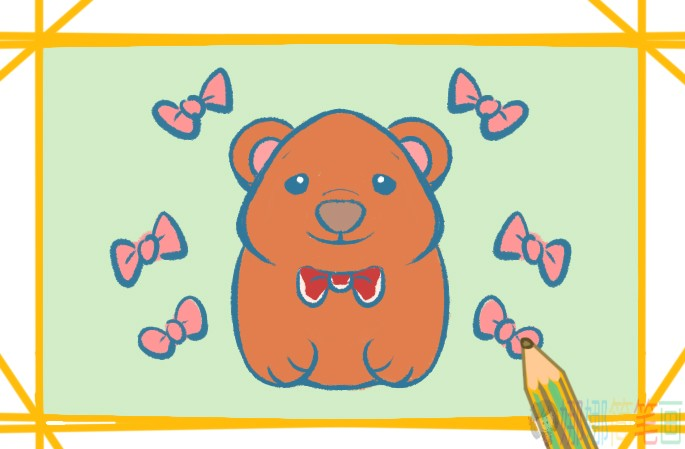 可爱害羞的小熊简笔画图片教程