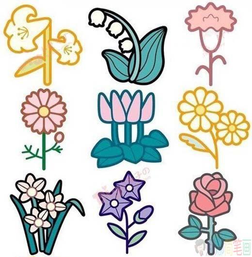 儿童彩色植物简笔画