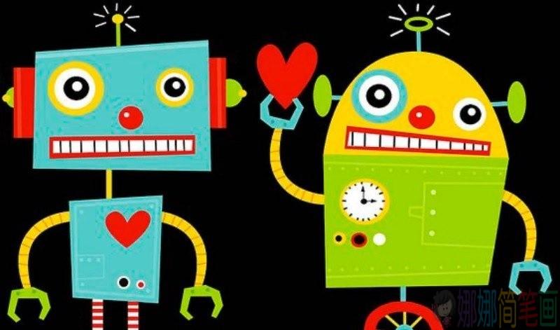 漂亮的机器人彩色简笔画