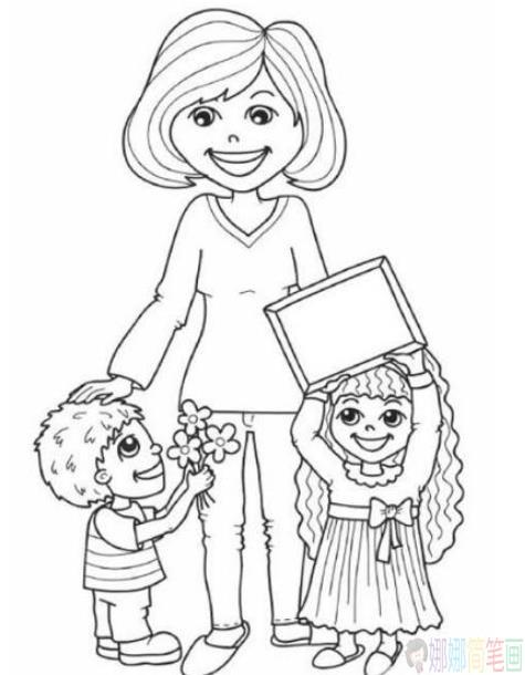 老师与学生简笔画