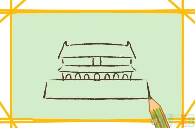 天安门彩色简笔画画法